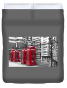 Red Telephone Boxes Duvet Cover