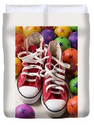 Red Tennis Shoes And Balls Duvet Cover