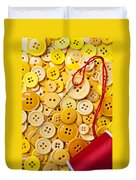 Red Thread And Yellow Buttons Duvet Cover