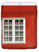 Red Timber House And Window Frame In Duvet Cover