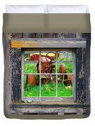 Red Tractor Thru Old Window Duvet Cover