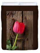 Red Tulip And Horseshoe  Duvet Cover