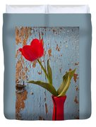 Red Tulip Bending Duvet Cover