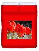 Red Tulip Flowers Art Prints Spring Florals Duvet Cover