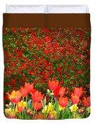 Red Tulip Flowers Duvet Cover