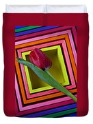 Red Tulip In Box Duvet Cover