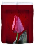 Red Tulip With Dew Duvet Cover