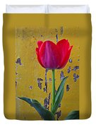 Red Tulip With Yellow Wall Duvet Cover