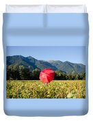 Red Umbrella On The Field Duvet Cover