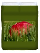 Red Umbrella On The Wheat Field Duvet Cover