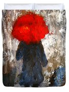 Red Umbrella Under The Rain Duvet Cover