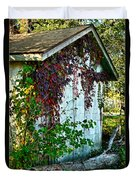 Red Vine Shed Duvet Cover