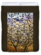 Red-winged Blackbirds At Sunset Duvet Cover