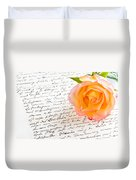 Red Yellow Rose Over A Hand Written Love Letter Duvet Cover