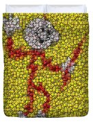 Reddy Kilowatt Bottle Cap Mosaic Duvet Cover by Paul Van Scott