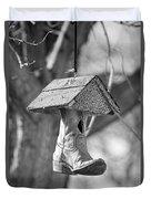 Redneck Cowboy Boot Birdhouse Bw Duvet Cover