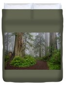 Redwoods Rising In Fog Duvet Cover