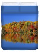 Reflected Autumn Trees In Simon Lake Duvet Cover