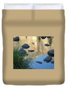 Reflecting Peaks In The Merced River Duvet Cover