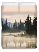 Reflection Lake With Mist, Mount Duvet Cover