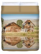 Reflection Of An Old Building Duvet Cover by Donna Greene