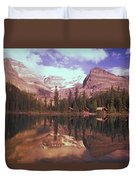 Reflection Of Cabins And Mountains In Duvet Cover
