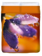 Reflection Of Flower In Dew Drops Duvet Cover