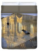 Reflection Of The Louvre In Paris Duvet Cover
