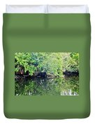 Reflection On The North Fork River Duvet Cover