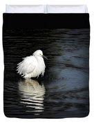 Reflections Of An Egret  Duvet Cover