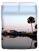 Reflections Of Keaton Beach Marina Duvet Cover