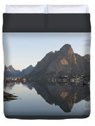 Reine Village In Early Morning Light Duvet Cover