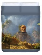 Reptoid Aliens Discover A Statue Duvet Cover