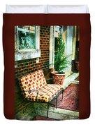 Retro Grunge Sidewalk Bench Seat Duvet Cover