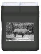 Rhino In Black And White Duvet Cover
