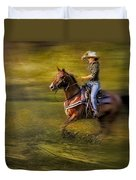 Riding Thru The Meadow Duvet Cover by Susan Candelario