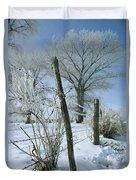 Rime From Rare Fog Coats Fence Duvet Cover