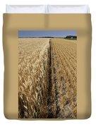 Ripened Wheat And Stubble In Saskatchewan Field Duvet Cover