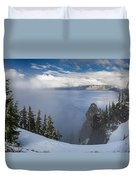Rising Mists From Crater Lake Panorama Duvet Cover