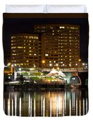 River Front At Night Duvet Cover
