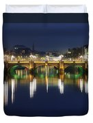 River Liffey At Night, Oconnell Street Duvet Cover