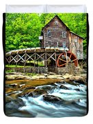 River Rock And A Grist Mill Duvet Cover