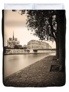River Seine And Cathedral Notre Dame Duvet Cover
