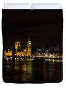 River Thames And Westminster Night View Duvet Cover