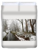 River With Snow Duvet Cover