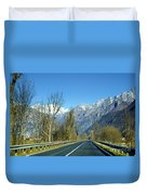 Road And Snow-capped Mountain Duvet Cover