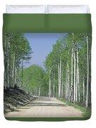 Road Through An Aspen Forest, Manti La Duvet Cover