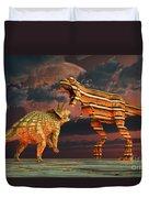 Robotic T. Rex & Triceratops Battle Duvet Cover