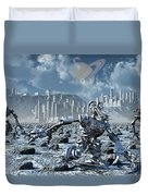 Robots Gathering Rich Mineral Deposits Duvet Cover