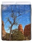 Rock Garden Skeleton Arches National Park Duvet Cover